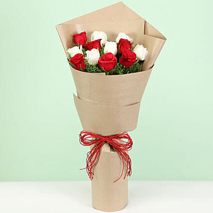 Sweet Love Bouquet Of 12 Red White Roses