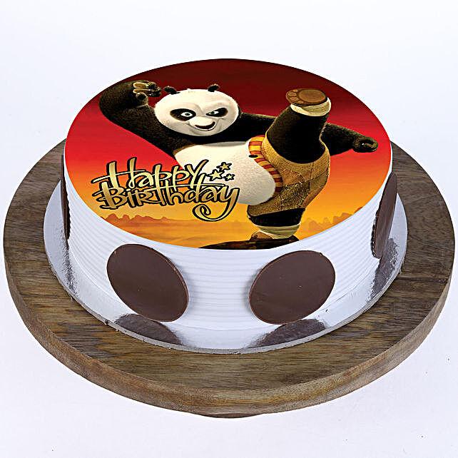 Peachy Kung Fu Panda Butterscotch Cake Half Kg Gift Online Cartoon Cake Funny Birthday Cards Online Alyptdamsfinfo