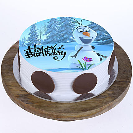 Peachy Olaf The Snowman Butterscotch Cake Half Kg Gift Online Olaf Personalised Birthday Cards Petedlily Jamesorg
