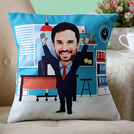 Personalised Office Man Caricature Cushion