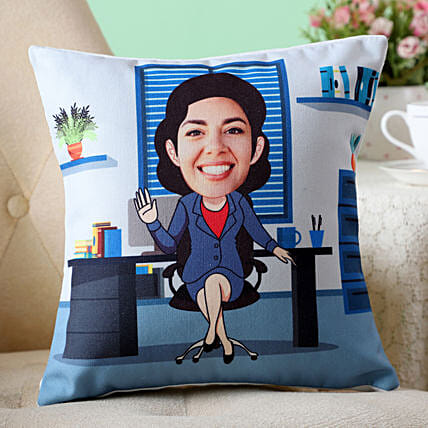 online personalised office woman caricature cushion