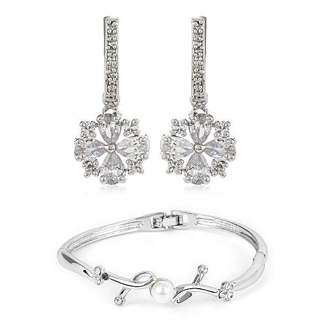 Diamante Earrings Bracelet Combo:Earrings