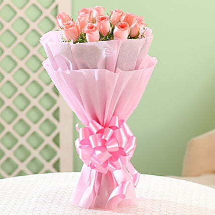 Bouquet of 12 pink roses flowers gifts womens day women day woman day women's day:Romantic Flowers for Her