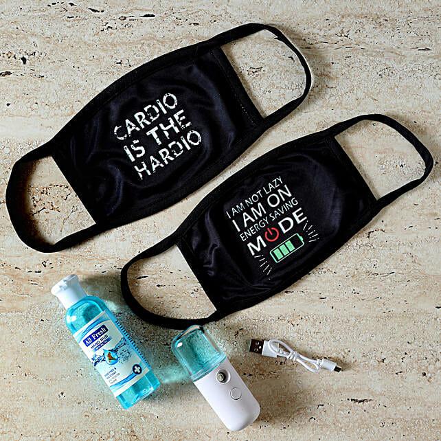 set of face masks with sanitizer spray
