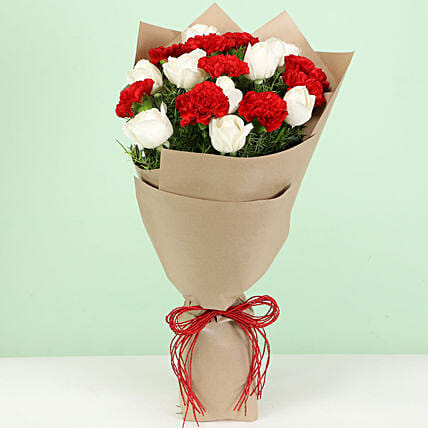 Bouquet of Red White Carnation Flowers