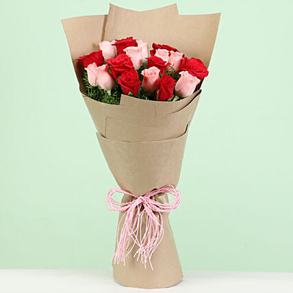 Lovely Red Pink Roses Bouquet