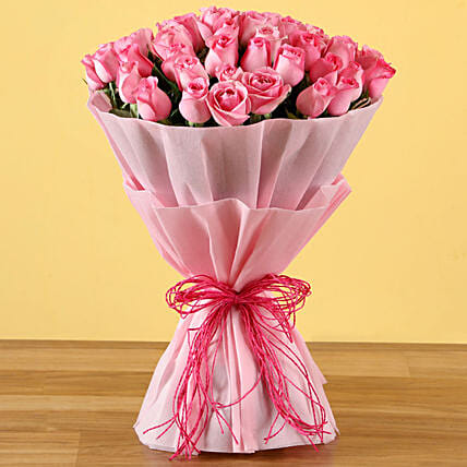 50 Pink Roses In Wrapped Bouquet
