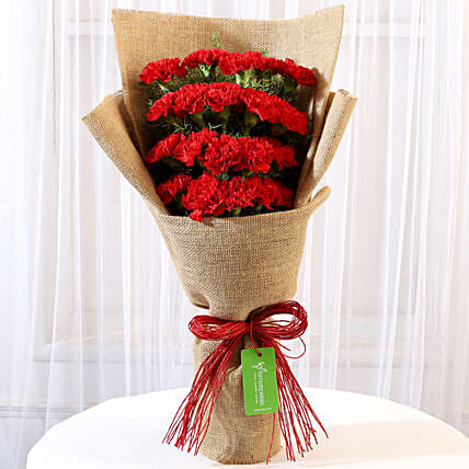 20 Red Carnations Bunch Jute Wrapped