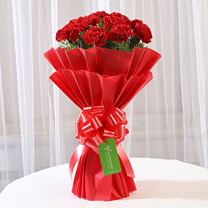 20 Red Carnations In Red Paper