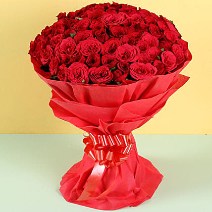 100 Alluring Red Roses Bunch