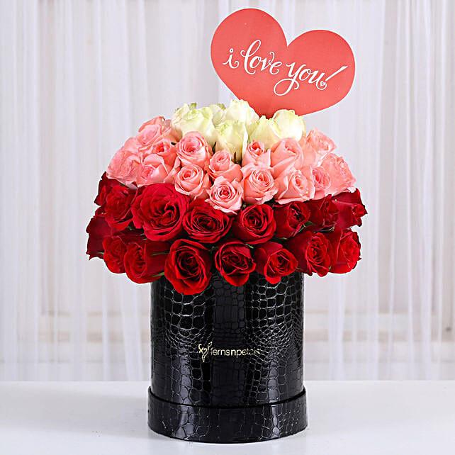 Exotic Mixed Roses Box Arrangement