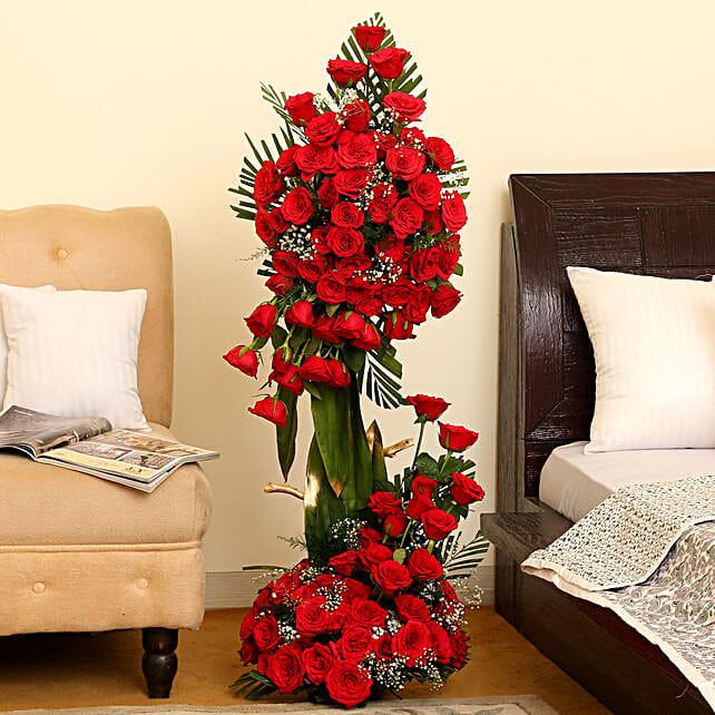 Romantic 100 Roses Basket Arrangement
