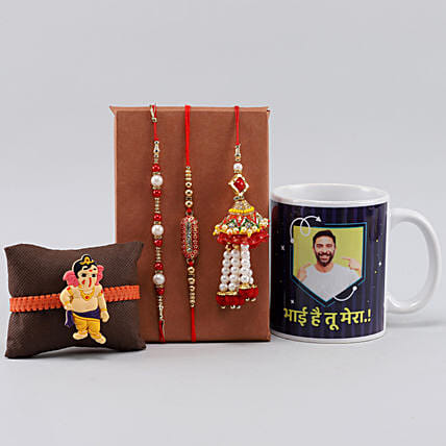 4 Rakhis n Personalised Mera Bhai Mug