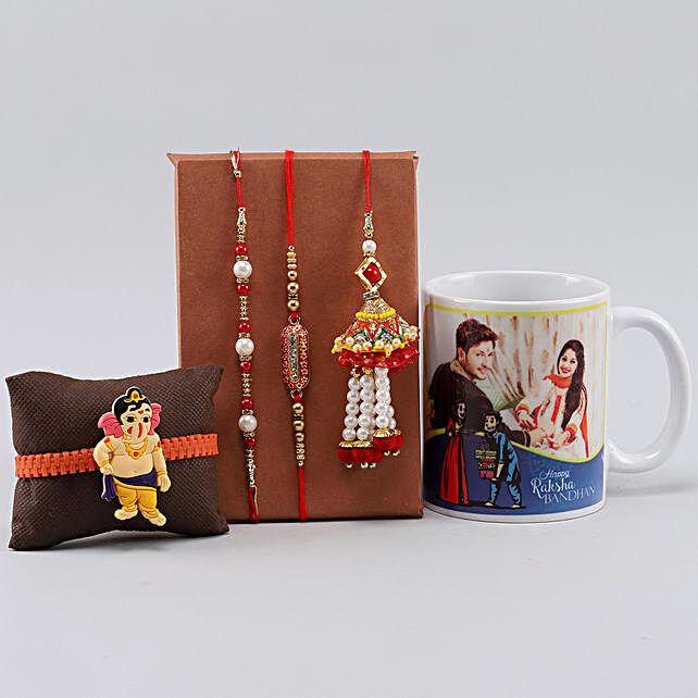 4 Rakhis n Personalised Mug For Bro
