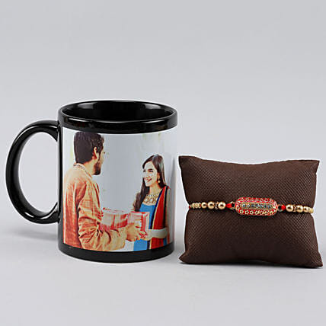 Personalised Black Mug For Bro n Capsule Rakhi