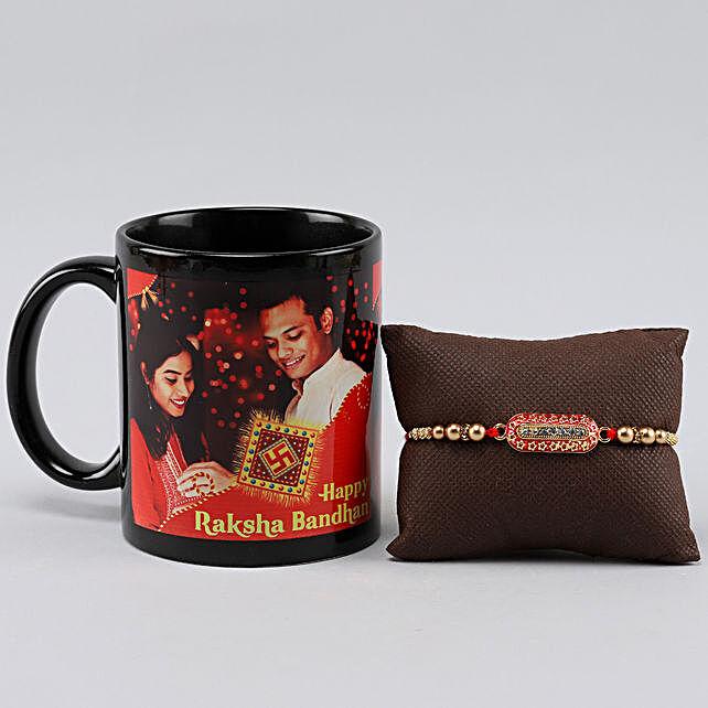 Personalised Black Mug n Capsule Rakhi