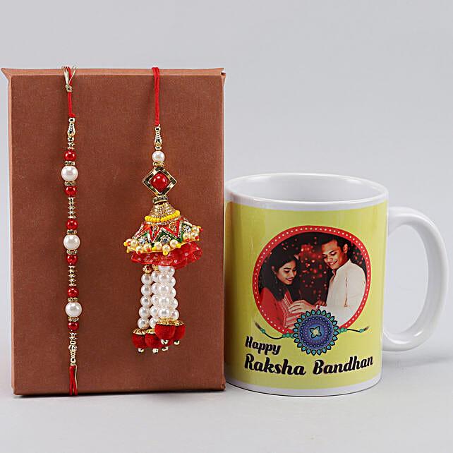 Personalised Raksha Bandhan Mug n Bhaiya Bhabhi Rakhi Set
