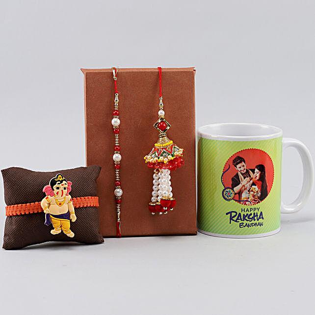 Set Of 3 Rakhis n Personalised Siblings Mug