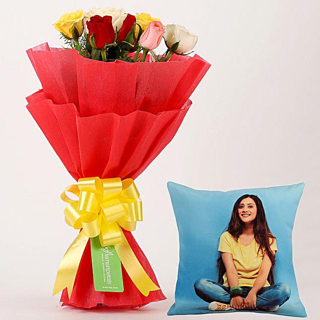 8 Flamboyant Roses Personalised Cushion