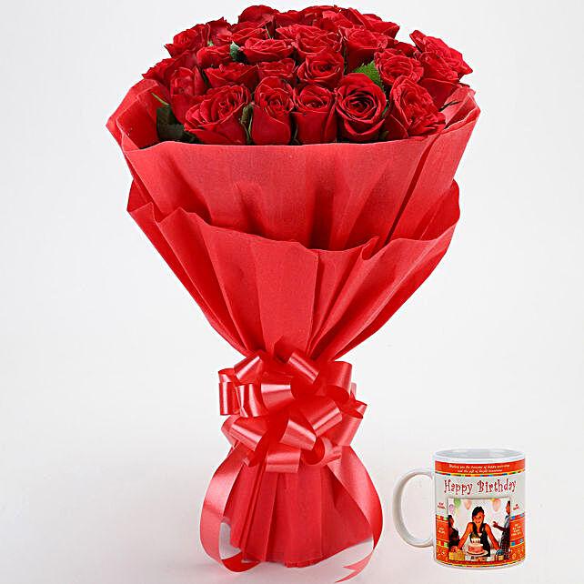 30 Bright Red Roses Personalised White Mug