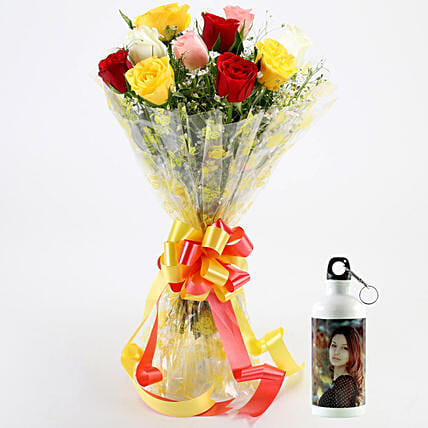 Alluring Mixed Roses Personalised Bottle