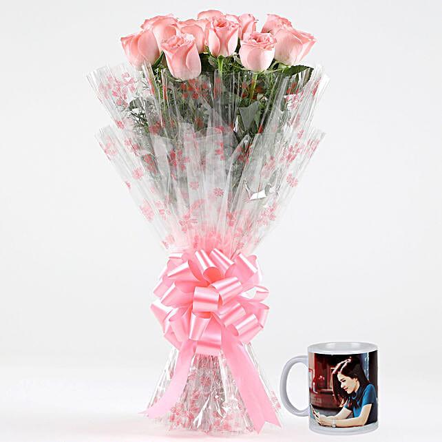 Alluring Pink Roses Personalised White Mug