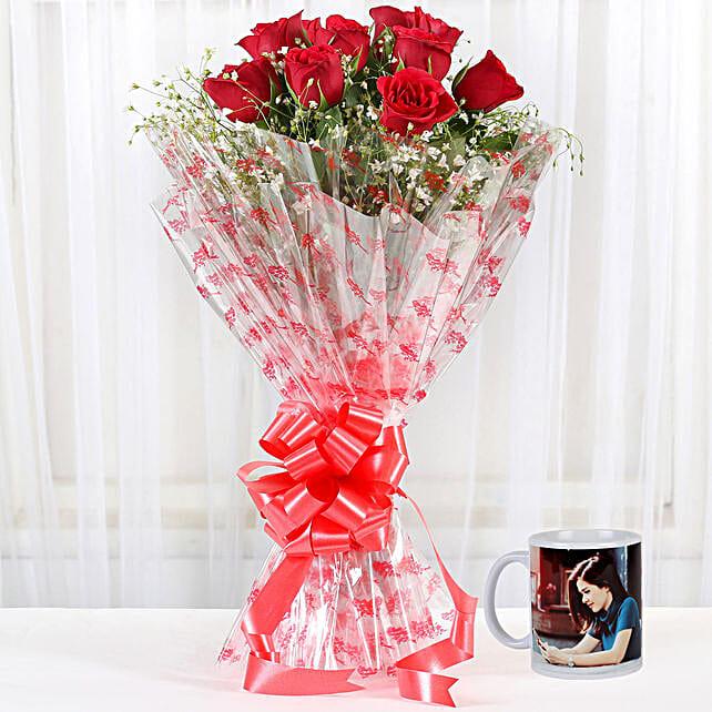 Alluring Red Roses Personalised White Mug