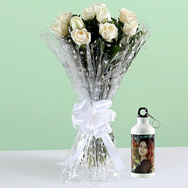 Alluring White Roses Personalised Bottle