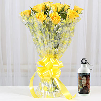 Alluring Yellow Roses Personalised Bottle