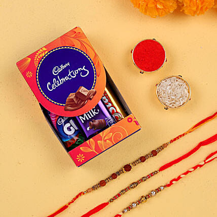 Set of 3 ethenic rakhis with chocolates online