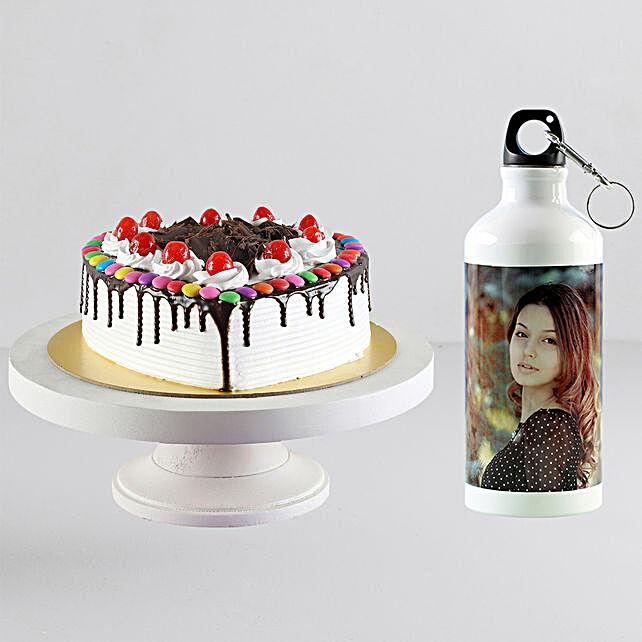 Personalised Bottle n Black Forest Cake Combo