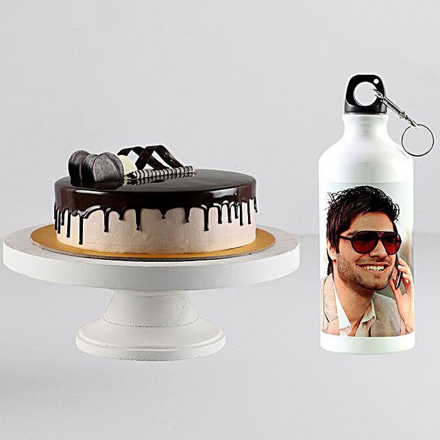 Personalised Bottle With Chocolate Cream Cake