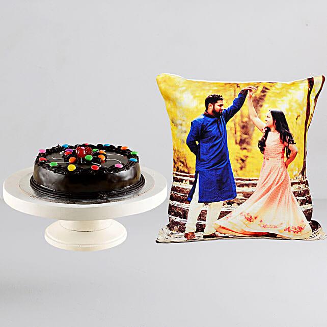 Personalised Cushion n Gems Truffle Cake