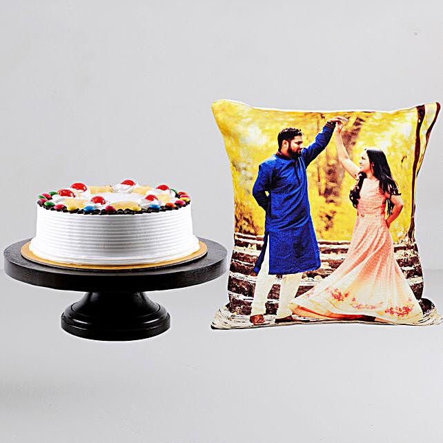 Personalised Cushion n Pineapple Gems Cake