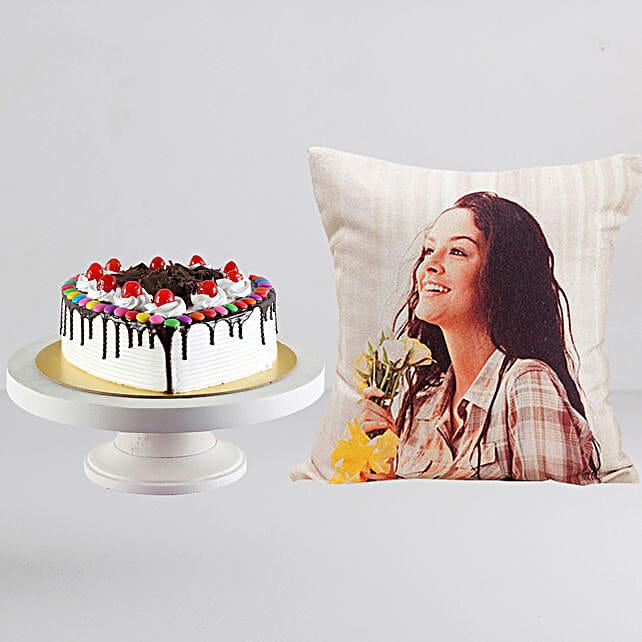 Personalised LED Cushion n Black Forest Cake