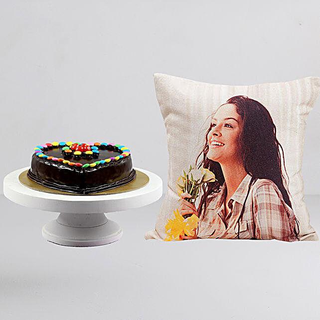 Personalised LED Cushion n Choco Truffle Gems Cake