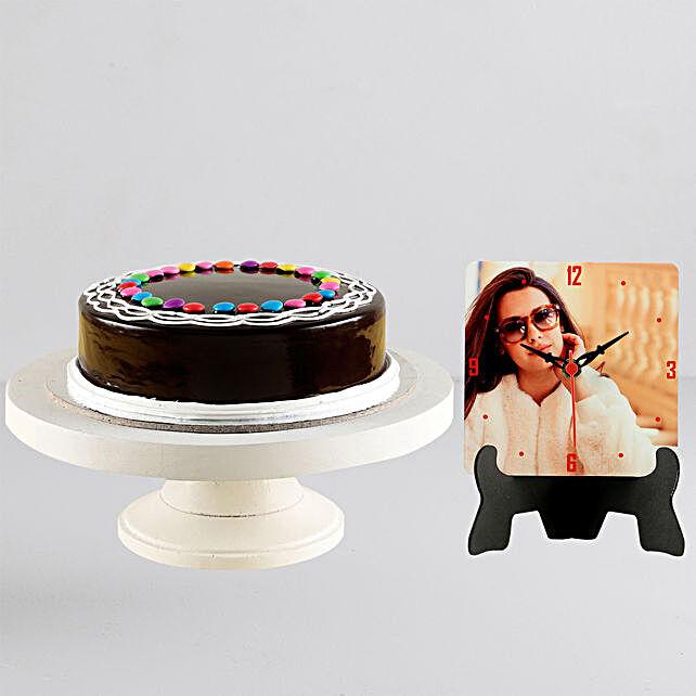 Personalised Table Clock n Chocolate Gem Cake