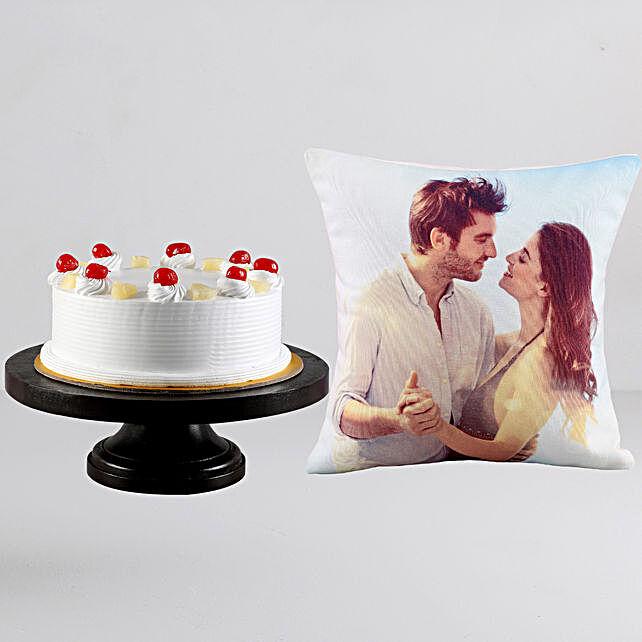 Pineapple Cream Cake n Personalised Cushion