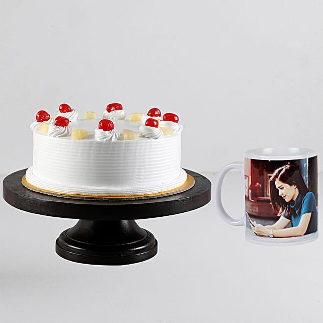 Pineapple Cream Cake n Personalised White Mug