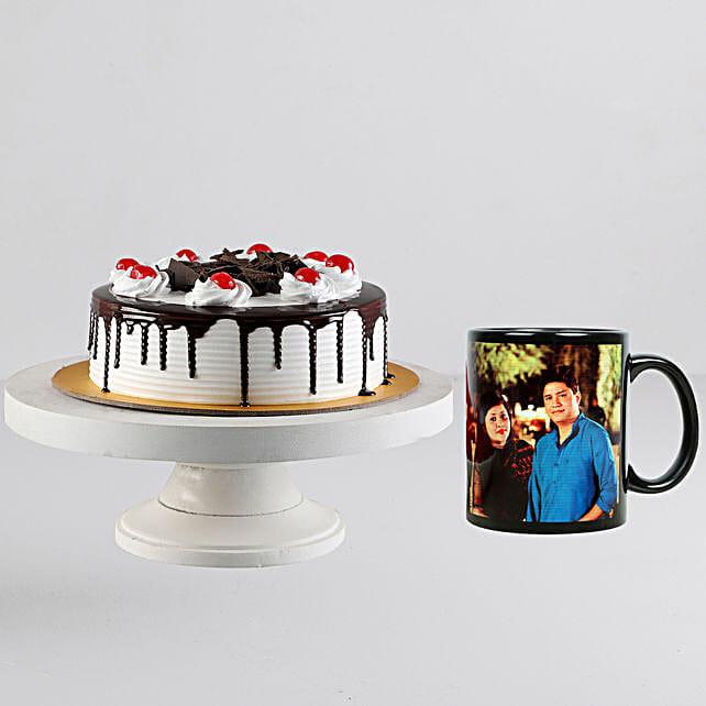 Black Forest Cake n Personalised Black Mug