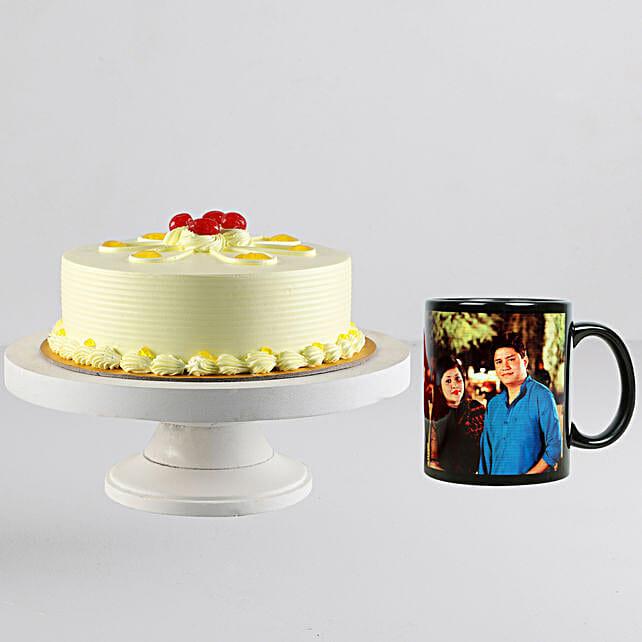 Butterscotch Cream Cake n Personalised Black Mug