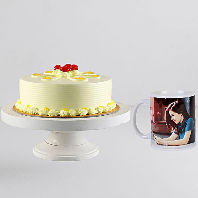 Butterscotch Cream Cake n Personalised White Mug