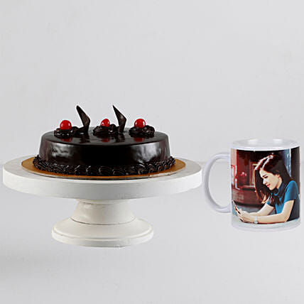 Online chocolate cake with personalised white mug:Cakes N Personalised Gifts