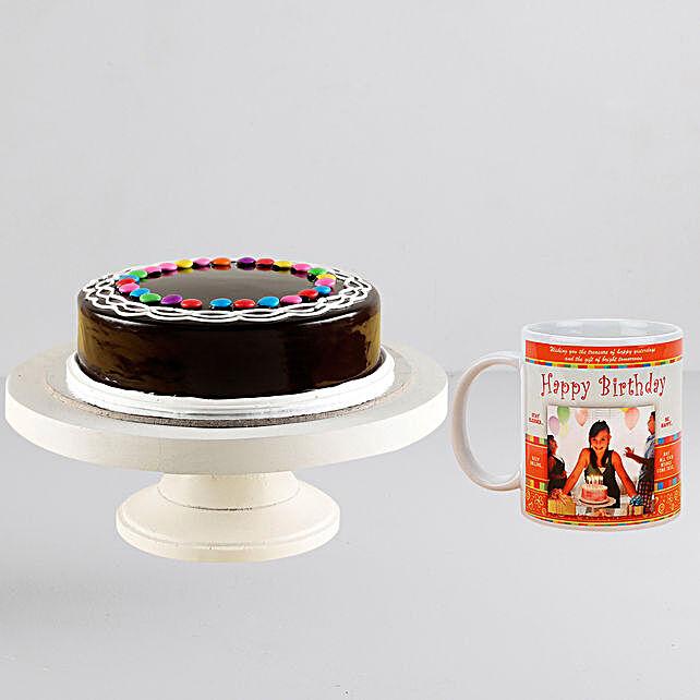 Chocolate Gems Cake n Personalised Mug Combo