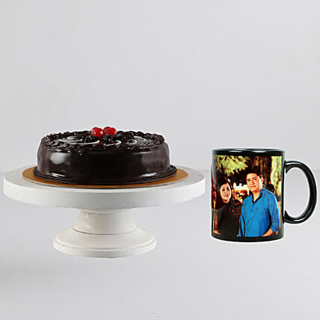 Chocolate Truffle Cake n Personalised Black Mug