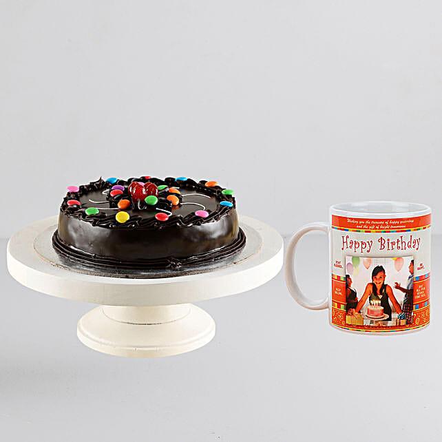 Gems Truffle Cake n Personalised Mug Combo