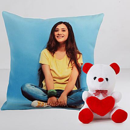 Personalised Cushion With Cute Teddy