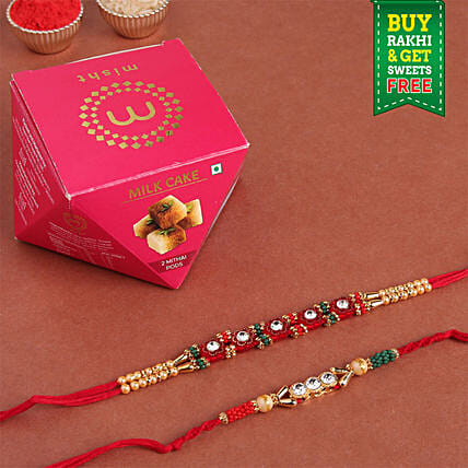 Beautiful Rakhi Set & Milk Cake