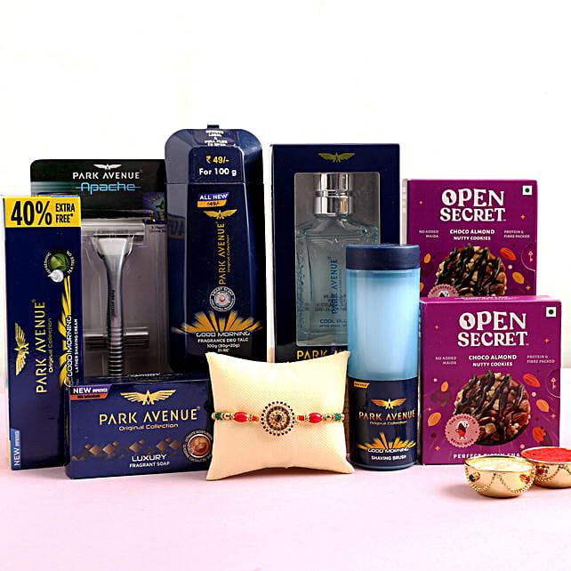 Meenakari Rakhi With Men Grooming Kit & Cookies