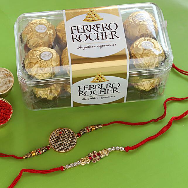 online Set of 2 Kundan Rakhis & Ferrero Rochers